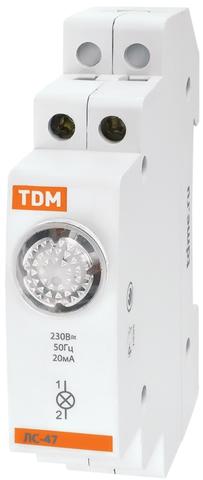 Лампа сигнальная ЛС-47 желтая (LED) AC/DC TDM