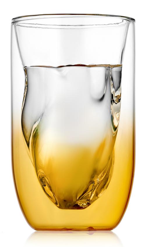 Стаканы (двойной стакан) Стеклянный стакан с двойными стенками градиент золотого SETI, 300 мл 2-104-350g-SETI-Glaffe-teastar.PNG