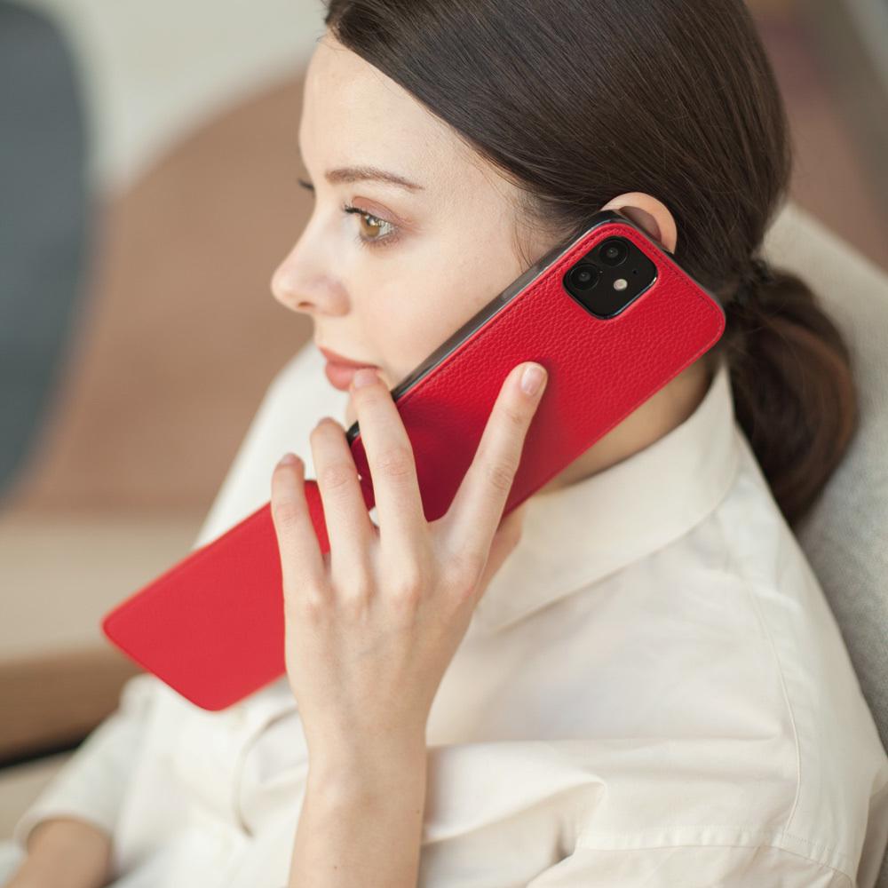 Чехол для iPhone 12/12Pro из натуральной кожи теленка, красного цвета