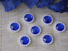 Камни круглые в стразовом обрамлении синие