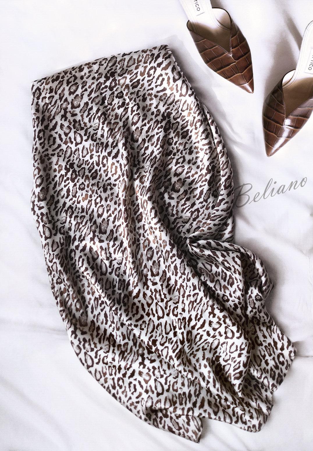 Трендовая шелковая юбка с леопардовым принтом. Натуральный шелк
