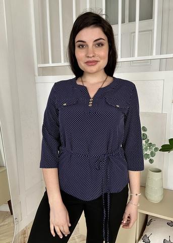 Джемма. Блуза великих розмірів з пояском, рукав 3/4. Синій
