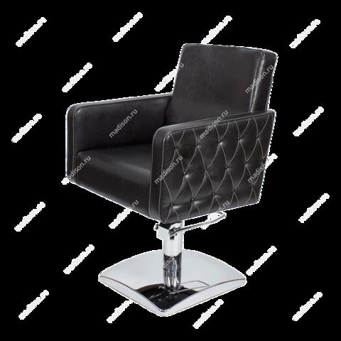 Парикмахерское кресло МД - 165 гидравлика хром, квадрат хром с прострочкой и утяжкой пуговицами боковин