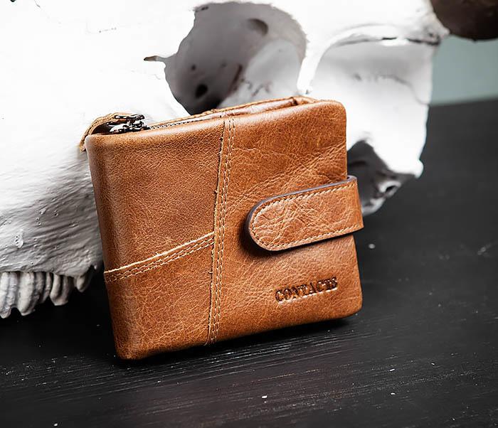 WL253-3 Винтажный кошелек рыжего цвета из натуральной кожи