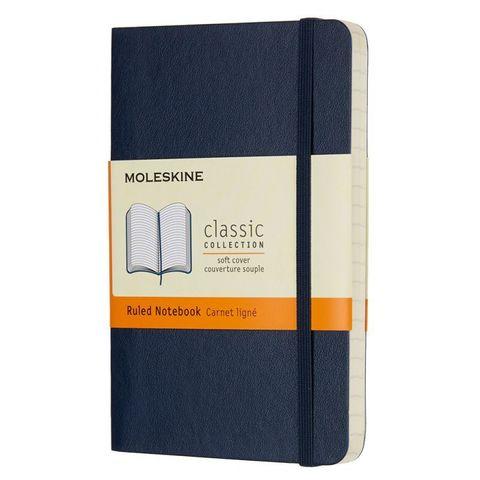 Блокнот Moleskine CLASSIC SOFT QP611B20 Pocket 90x140мм 192стр. линейка мягкая обложка синий сапфир
