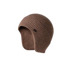Шерстяная вязаная мужская шапка из кроличьей шерсти (Лыжная теплая шапка) бежевая