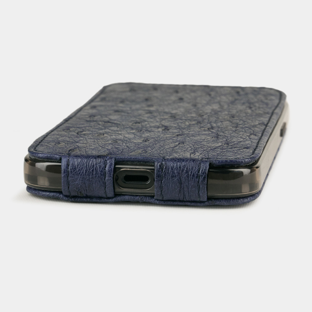 Special order: Чехол для iPhone 12/12Pro из натуральной кожи страуса, синего цвета