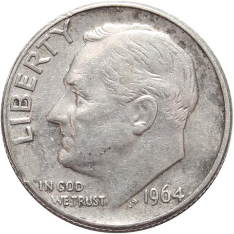 1 дайм (10 центов) 1964. (D) США Серебро VF