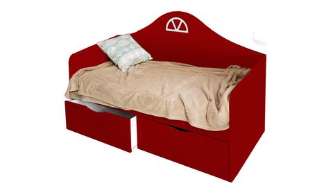 Детский диван-кровать с двумя ящиками красный