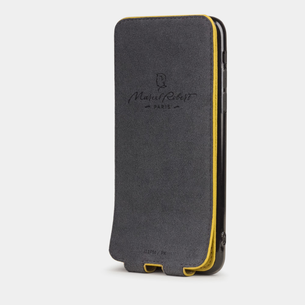 Чехол для iPhone 11 Pro Max из натуральной кожи теленка, желтого цвета