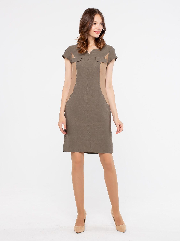 Платье З796-181 - Платье приталенного силуэта с небольшим втачным рукавом и фигурной вырезом горловины. Застежка на потайную молнию спереди. Боковые вставки из более светлой ткани визуально стройнит фигуру. Немного маломерит в груди. Пояс в комплект не входит.