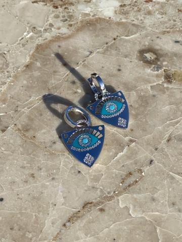 Серьги Гарди из серебра с голубым цирконом