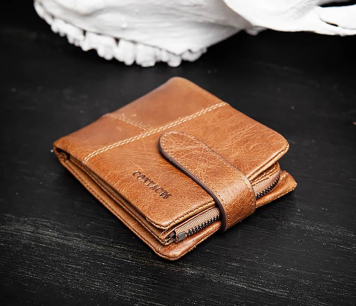 WL253-3 Винтажный кошелек рыжего цвета из натуральной кожи фото 03