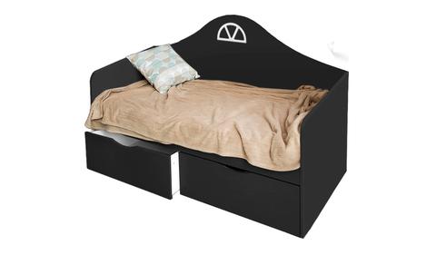 Детский диван-кровать с двумя ящиками черный