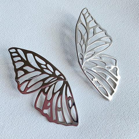 Серьги Бабочки резные, серебристый (замок-гвоздик)