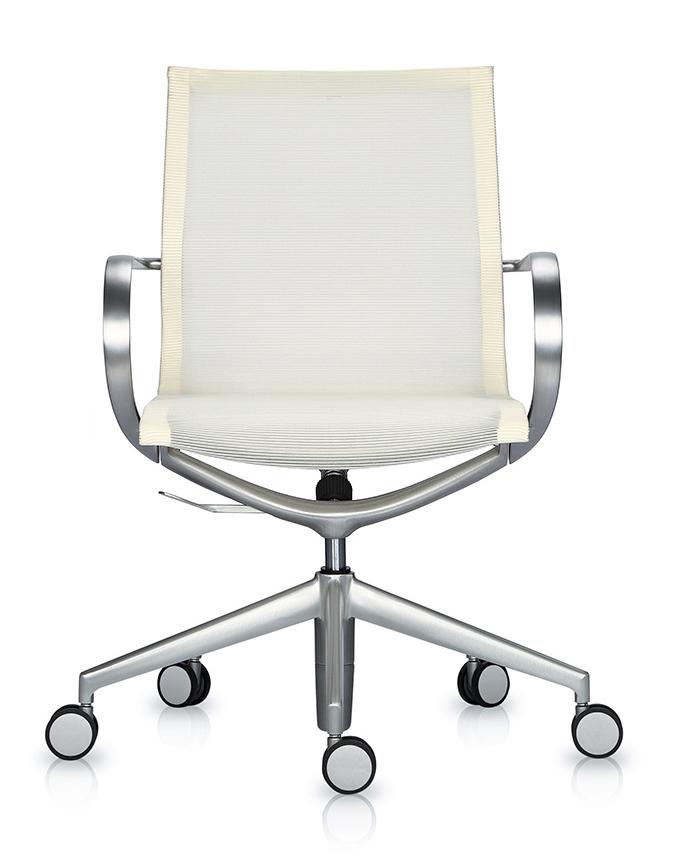Кресло Mercury LB тепло-белая 3D-сетка, матовый алюминий - вид 2
