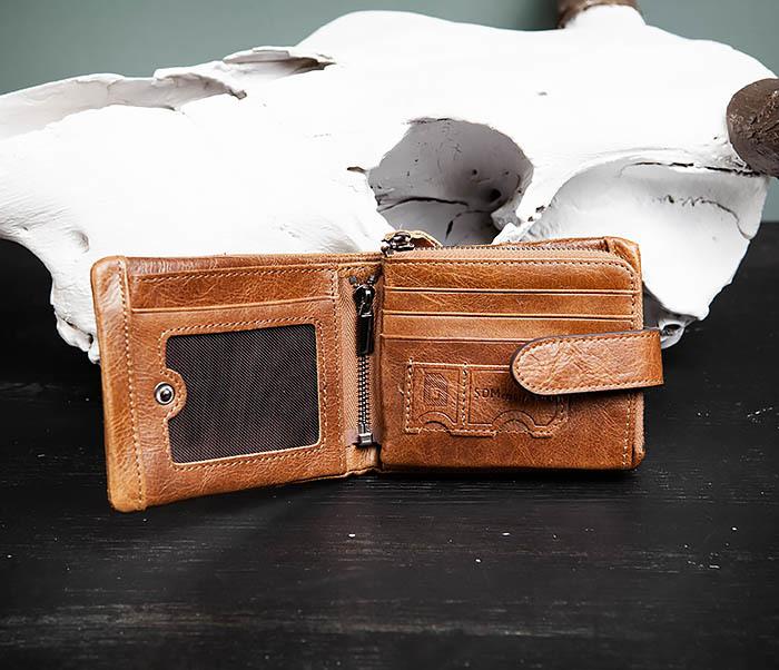 WL253-3 Винтажный кошелек рыжего цвета из натуральной кожи фото 04