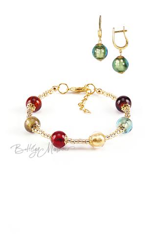 Комплект Carnavale Oro (зеленые серьги на серебре, браслет)