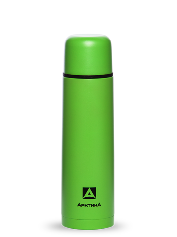 Термос Арктика (1 литр) с узким горлом, пластиковый корпус, зелёный