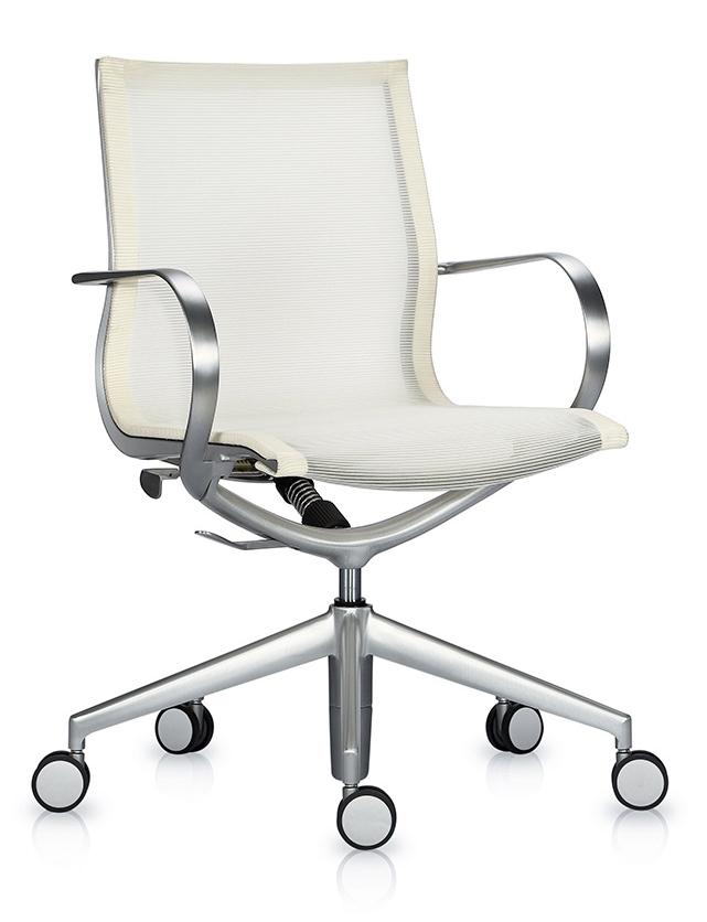 Кресло Mercury LB тепло-белая 3D-сетка, матовый алюминий - вид 1
