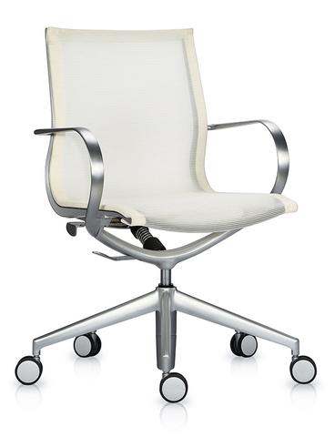 Кресло Mercury LB тепло-белая 3D-сетка, матовый алюминий