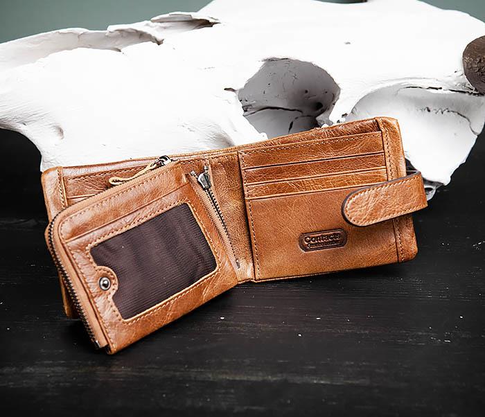 WL253-3 Винтажный кошелек рыжего цвета из натуральной кожи фото 05