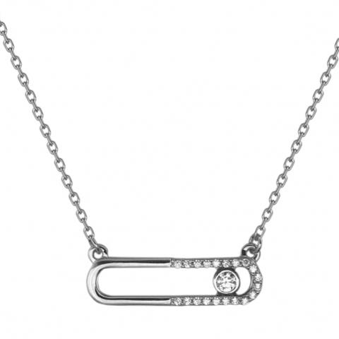 01Л121776 - Колье из белого золота с двигающимися фианитами в стиле MESSIKA
