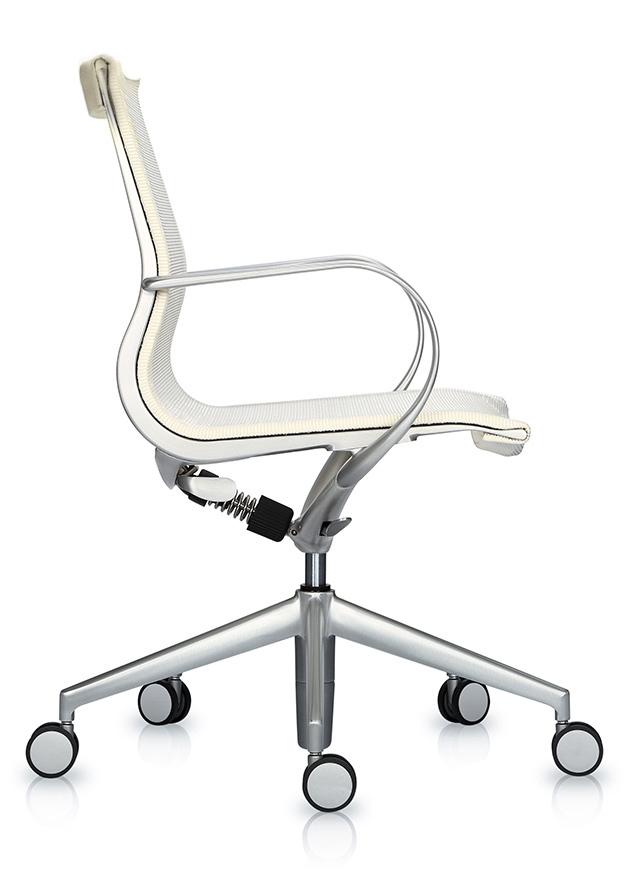 Кресло Mercury LB тепло-белая 3D-сетка, матовый алюминий - вид 3