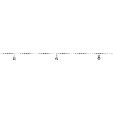 94050505- Браслет на ногу из серебра с подвесками фианитами