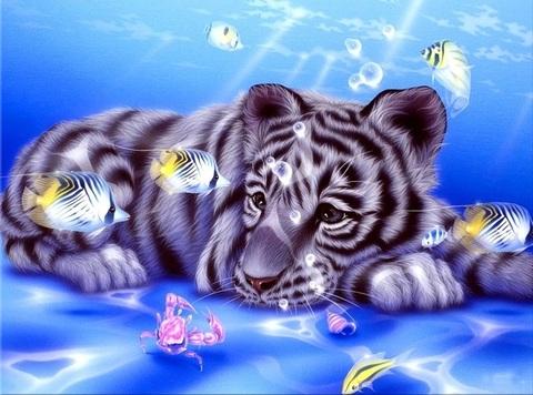 Алмазная Мозаика 30x40 Белый тигренок на синем фоне