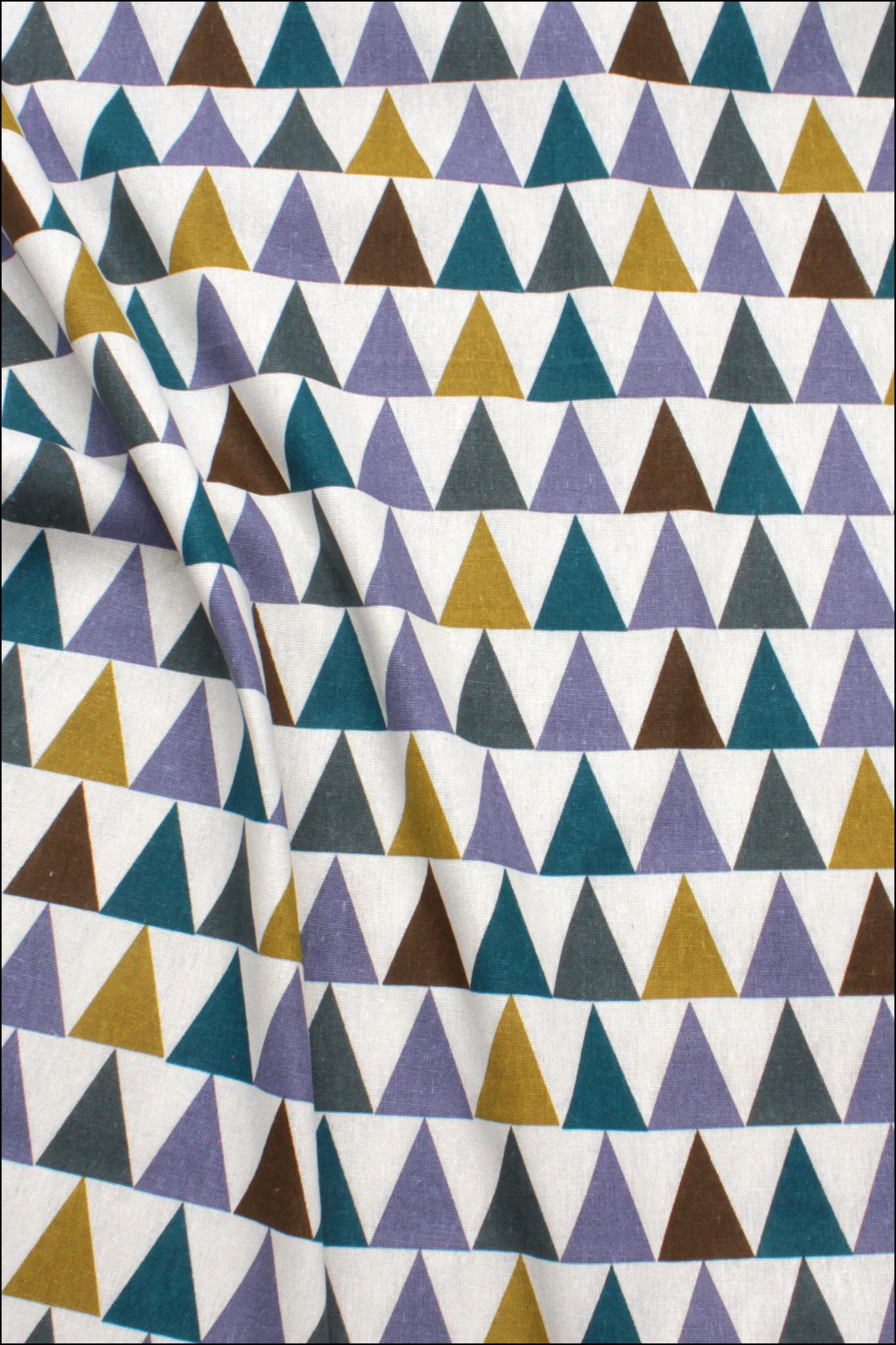 Треугольники цветные, хлопок-лен