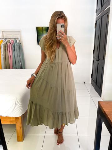 Платье льняное оливковое