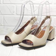 Бежевые босоножки на квадратном каблуке Brocoli H150-9137-2234 Cream