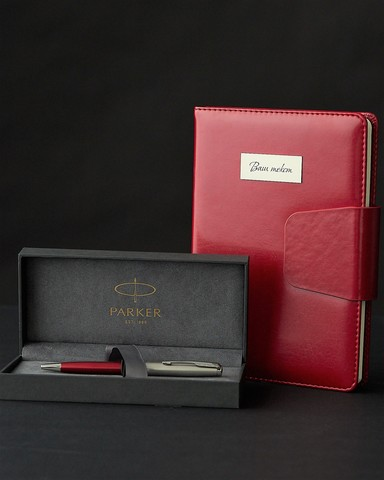 Подарочный набор с ручкой Parker Sonnet Entry Point Red Steel и ежедневником с индивидуальной гравировкой