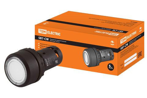 Кнопка SB7-CW3161-24V(LED) d22мм 1з белая TDM
