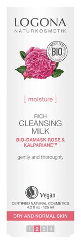 LOGONA Насыщенное молочко для очищения лица с Био-Дамасской Розой и комплексом Kalpariane