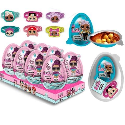 Печенье с кремом и игрушка в пластиковом яйце, ТМ «L.O.L. Surprise!», 1кор*6бл*8шт, 15г