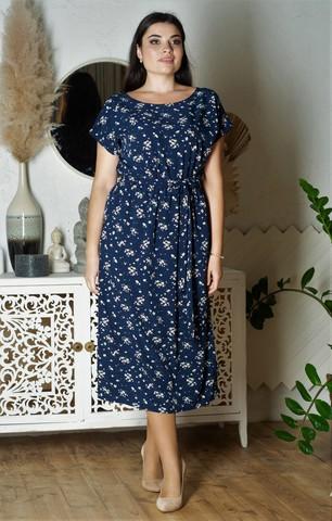 Алла. Платье міді великих розмірів. Софт квіти