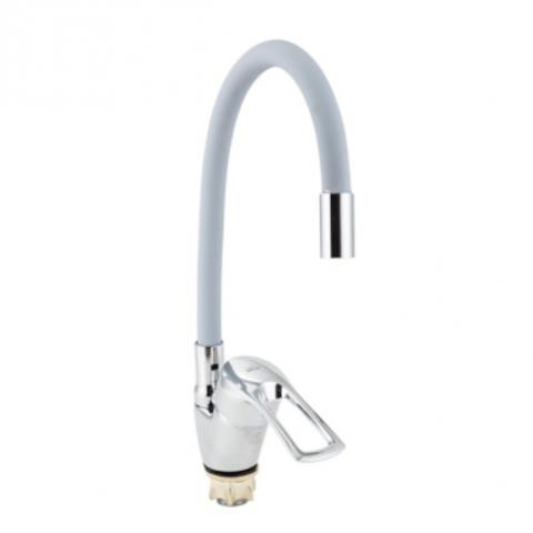 VIKO 6468, смеситель для кухни, боковой с серым гибким изливом, картридж ф40, крепление с гайкой