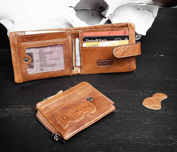 WL253-3 Винтажный кошелек рыжего цвета из натуральной кожи фото 07