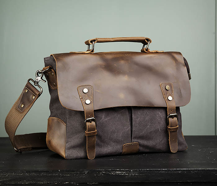 BAG474-2 Мужская сумка портфель из кожи и ткани