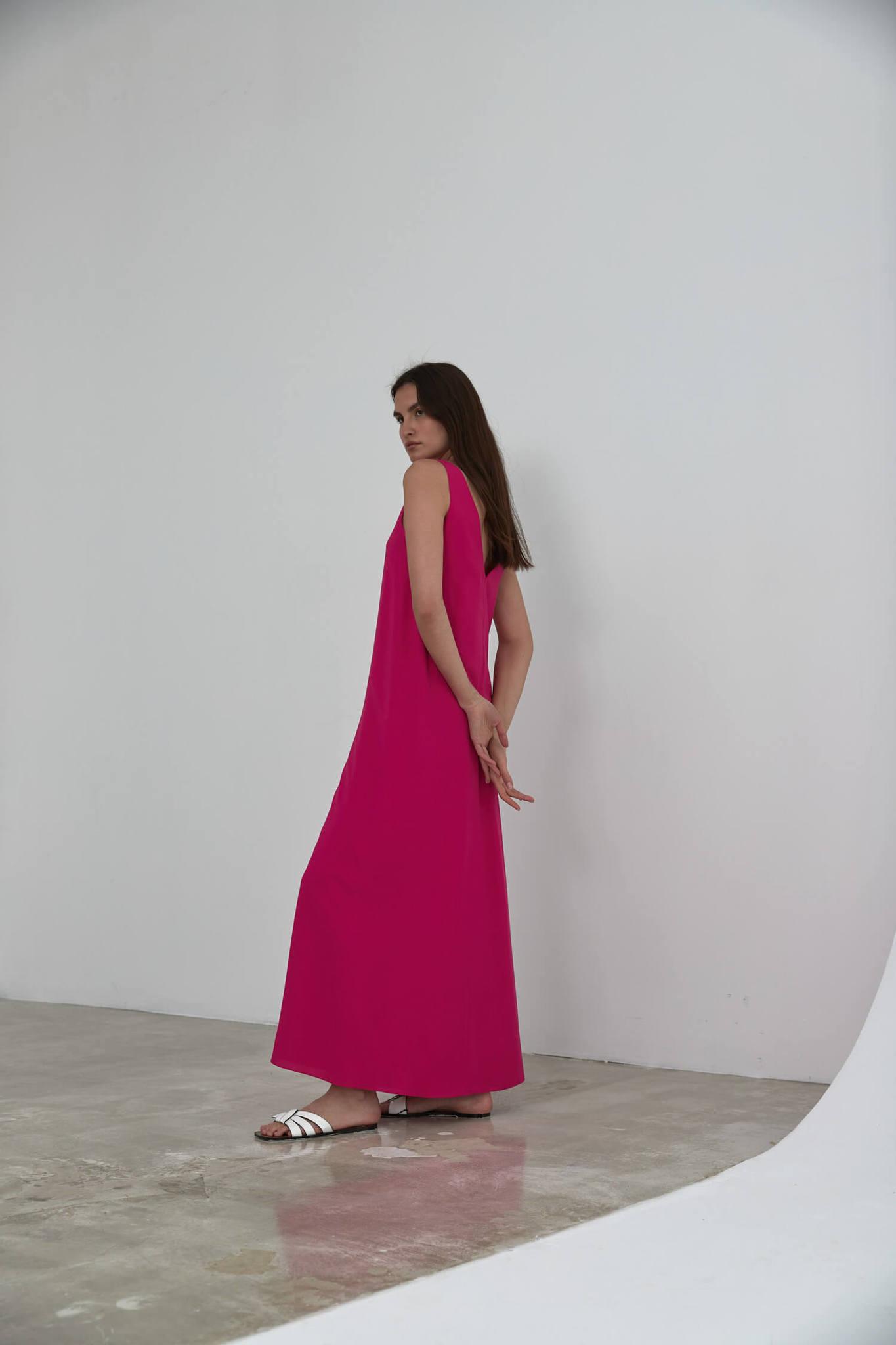 Платье-майка длинное без боковых швов, фуксия