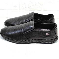 Красивые туфли слипоны мужские кожаные смарт кэжуал Ridge Z-291-80 All Black.