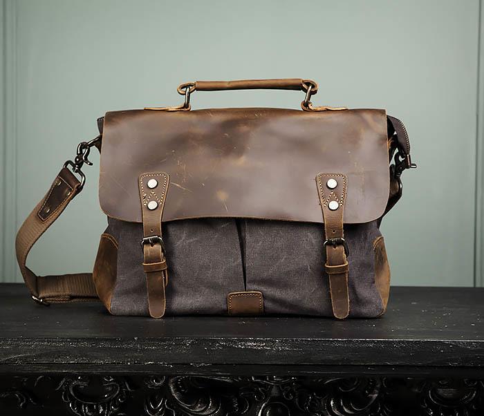 BAG474-2 Мужская сумка портфель из кожи и ткани фото 02