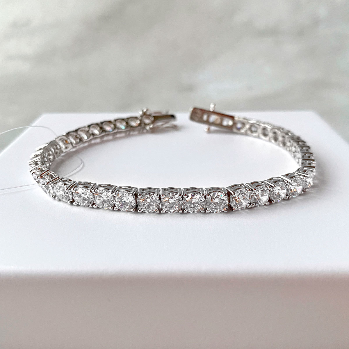 Браслет Теннисный огранки принцесс white diamond (серебро 925)