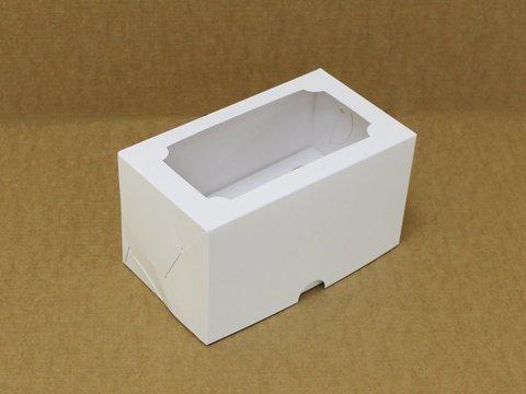 Коробка для 2 капкейков 16*10*10 с окном, белая