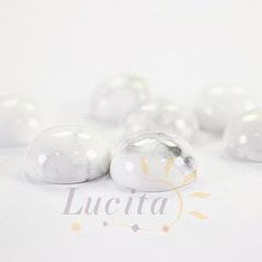 Кабошон круглый Говлит белый, 12 мм