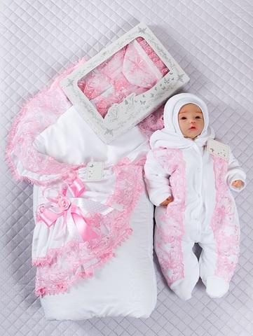 Зимний набор на выписку Красотка Lux бело-розовый