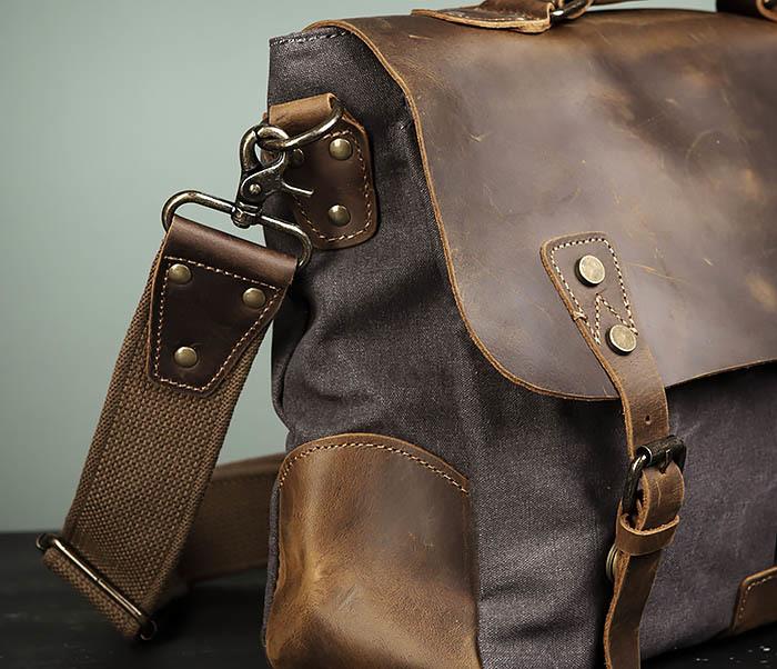 BAG474-2 Мужская сумка портфель из кожи и ткани фото 03