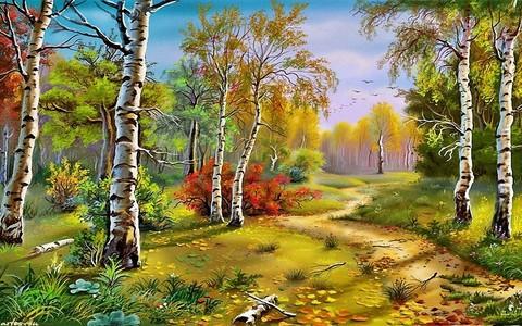 Картина раскраска по номерам 40x50 Березы в осеннем лесу
